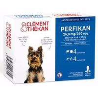 CLEMENT THEKAN 26,8 mg/240 mg Très Petits Chiens 4 Pipettes