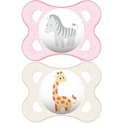 MAM Sucette Silicone 0-6mois Animaux Rose x2