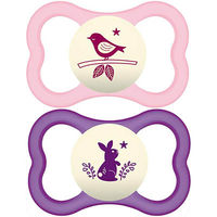 MAM Sucette Silicone Air Nuit +18mois x2 Fille