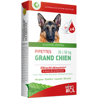 VETOBIOL Antiparasitaire Grand Chien 25 à 50kg 4 pipettes x 5ml