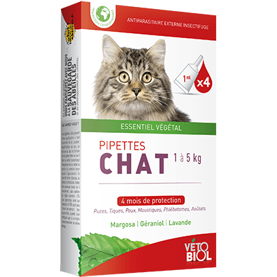 VETOBIOL Antiparasitaire Chat 1 à 5kg 4 pipettes x 1ml