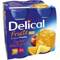 DELICAL Boisson Fruitée Multi-fruits Lot de 4 Bouteilles x 200ml