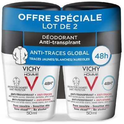 VICHY Homme Déodorant Anti-traces 48h Roll-on 2x50ml