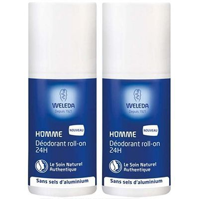 WELEDA Homme Déodorant Roll-on 24H Lot de 2 x 50ml