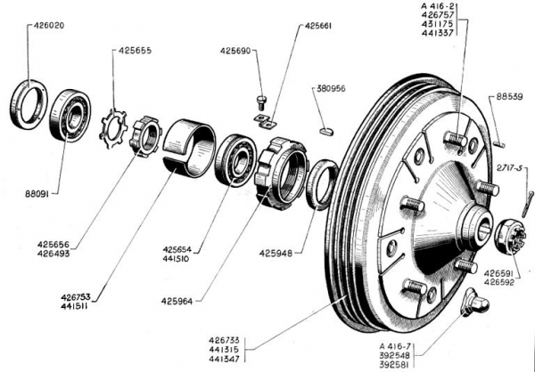 breakdrum front and bearings