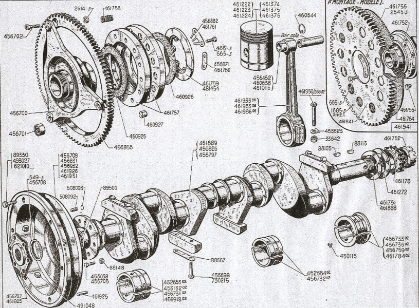 crankshaft, connecting rods and pistons