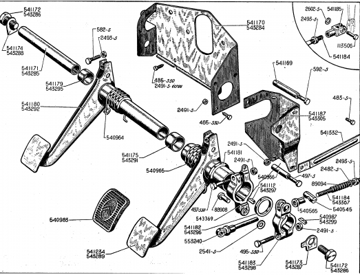 clutch and brake pedal gear