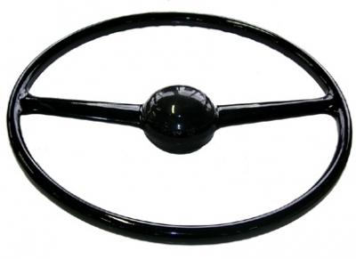 steering wheel two spoke black, like original with steel reinforcement inlay