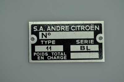 plate for serial number 11BL