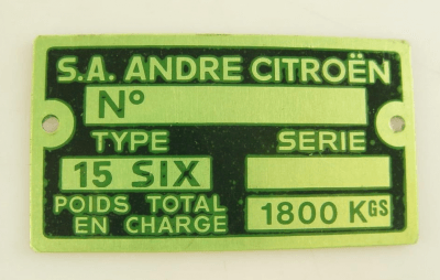plate for serial number 15CV