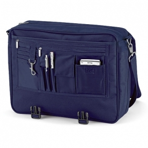 Cartable sacoche porte documents à bandoulière - QD65 - bleu marine
