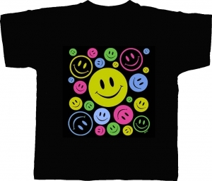 T-shirt HOMME manches courtes - Smiley néon fluo happy faces - 5392