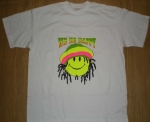 T-shirt homme manches courtes - Smiley néon fluo rasta We be happy - 12675