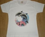 T-shirt FEMME manches courtes - Dauphins hibiscus - 11142 - blanc