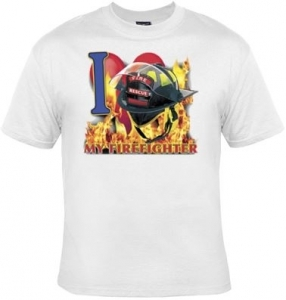 T-shirt FEMME manches courtes - I Love my firefighter - Sapeurs Pompiers - USA -13497 - blanc