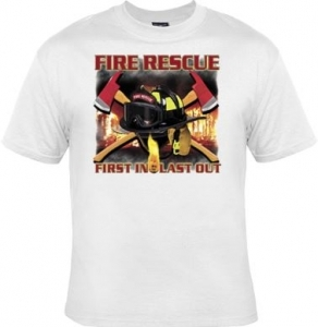 T-shirt FEMME manches courtes - Fire rescue First in Last out - Sapeurs Pompiers - USA - 13488- blanc
