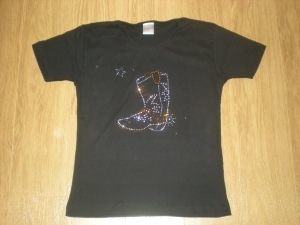 T-shirt femme manches courtes - Country BOOTS bottes - strass - 557