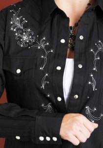 Chemise femme country noir - Callahan city - chemisier western broderies strass - PANHANDLE