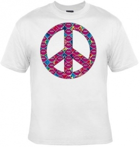 T-shirt femme manches courtes - PEACE and LOVE Lips - lèvres - 10427