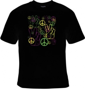 T-shirt femme manches courtes - MAIN signe PEACE and LOVE - 12215