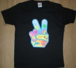 T-shirt femme manches courtes - MAIN signe PEACE and LOVE - 10392