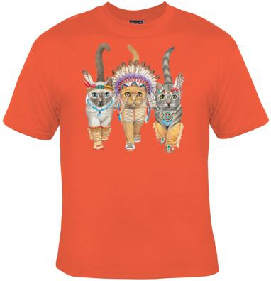 T-shirt HOMME manches courtes - Country - Chats indiens - 2256