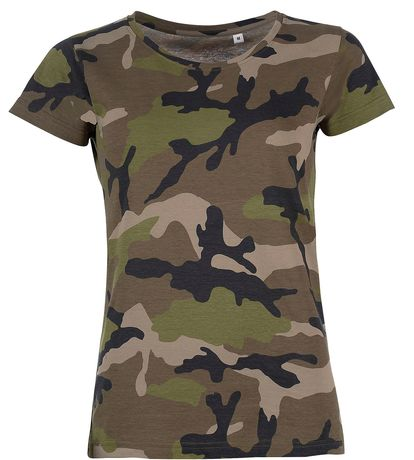 T-shirt manches courtes camouflage FEMME - 01187 - vert army camo