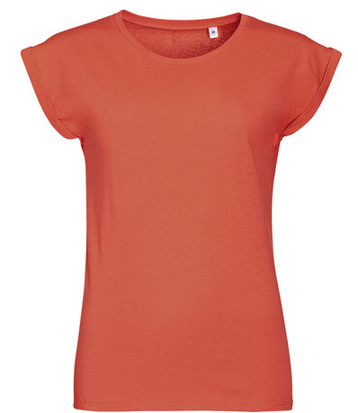 T-shirt manches courtes col rond FEMME - 01406 - rouge corail