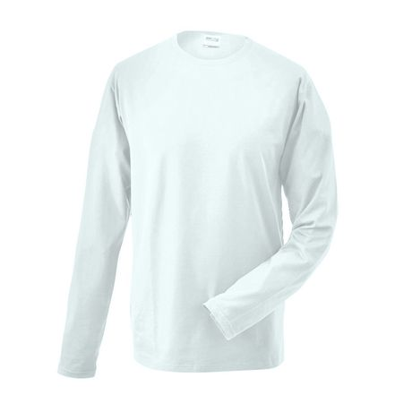 T-shirt stretch homme manches longues - JN056 - blanc