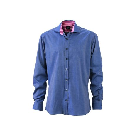 chemise manches longues homme - JN634 - bleu marine col rouge