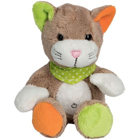 Peluche chat 60698 - marron vert orange et blanc