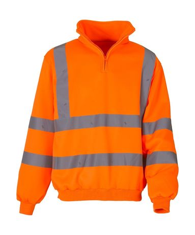 Sweat-shirt de sécurité col zippé orange fluo - HVK06
