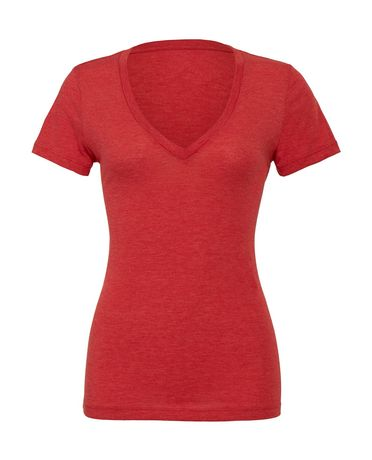 T-shirt femme manches courtes col V profond - 8435 - rouge