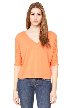 T-shirt femme col V manches dolman - 8825 - orange corail
