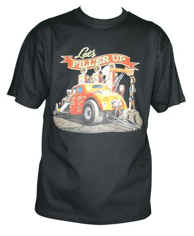 T-shirt homme manches courtes - Hot rod dragster USA - 11221 - Noir