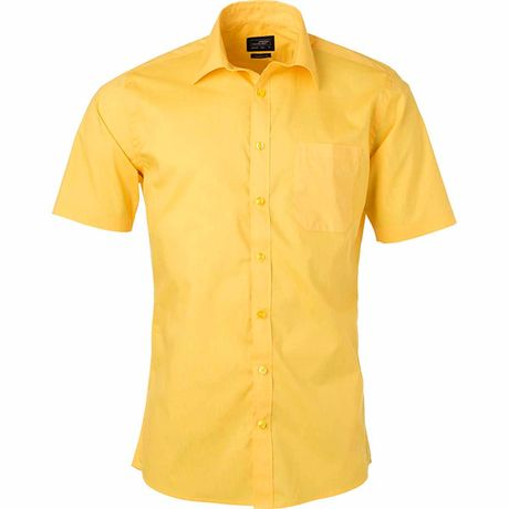 chemise popeline manches courtes - JN680 - homme - jaune