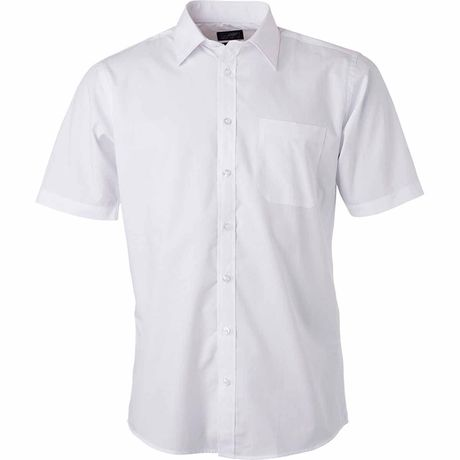 chemise popeline manches courtes - JN680 - homme - blanc