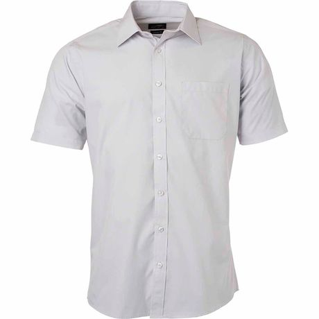 chemise popeline manches courtes - JN680 - homme - gris clair