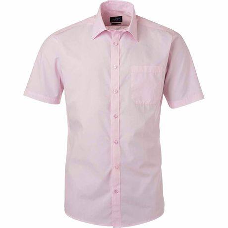 chemise popeline manches courtes - JN680 - homme - rose clair