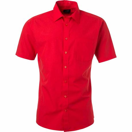 chemise popeline manches courtes - JN680 - homme - rouge tomate