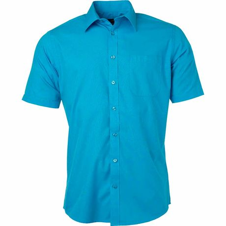 chemise popeline manches courtes - JN680 - homme - bleu turquoise