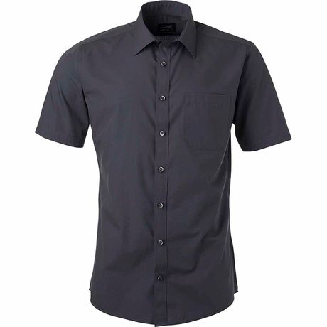 chemise popeline manches courtes - JN680 - homme - gris carbone