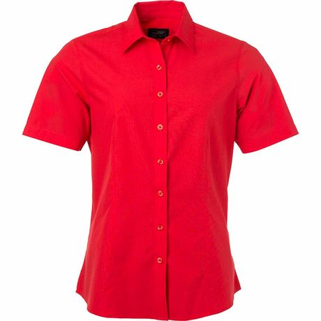 chemise popeline manches courtes - JN679 - femme - rouge tomate