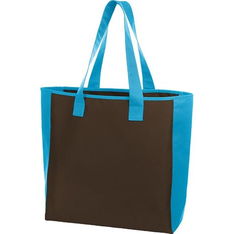Sac shopping - cabas bicolore - 1813064 - marron et bleu