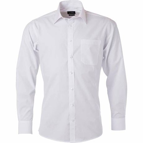chemise popeline manches longues - JN678 - homme - blanc