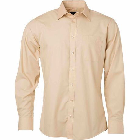 Chemise popeline manches longues - JN678 - homme - beige pierre