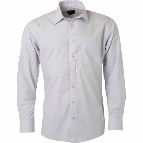 chemise popeline manches longues - JN678 - homme - gris clair