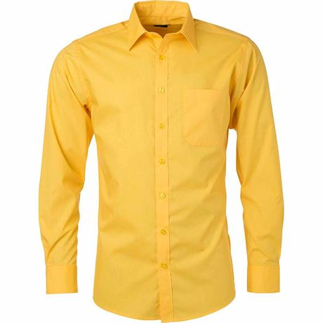 chemise popeline manches longues - JN678 - homme - jaune