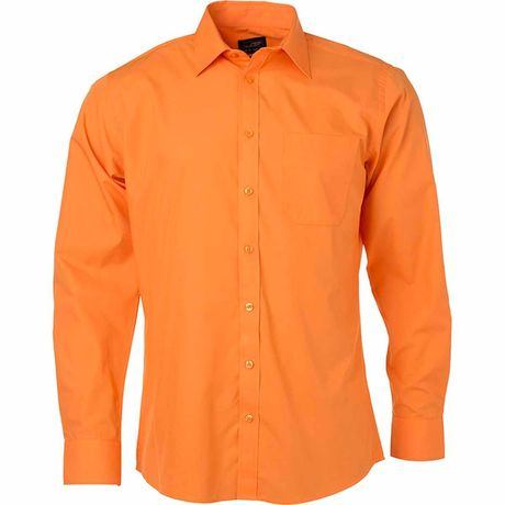 chemise popeline manches longues - JN678 - homme - orange