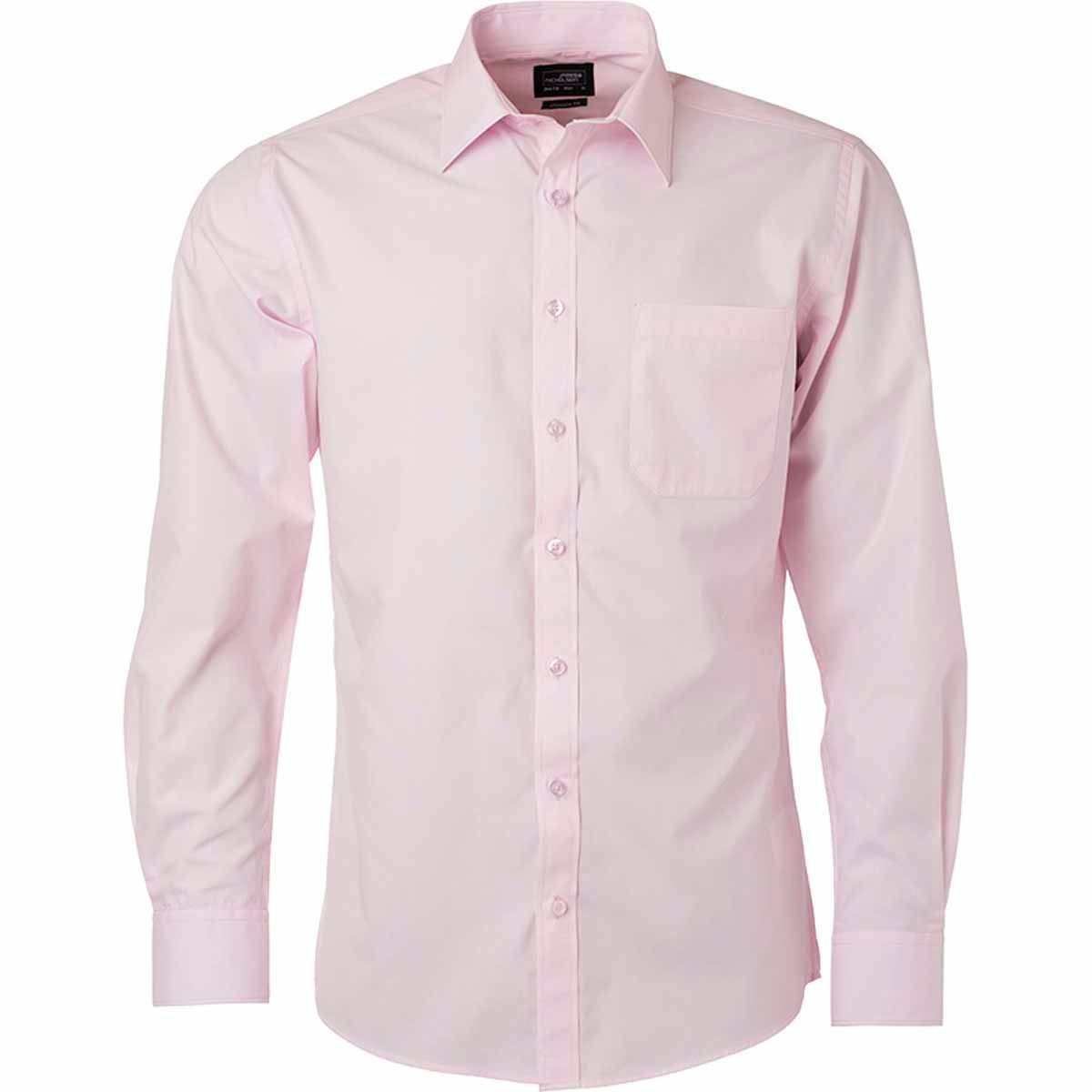 chemise popeline manches longues JN678 homme rose clair